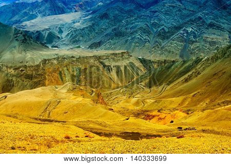 Beautiful aerial view of moonland Himalayan mountain background LadakhJammu and Kashmir India. Stock photograph of Ladakh.