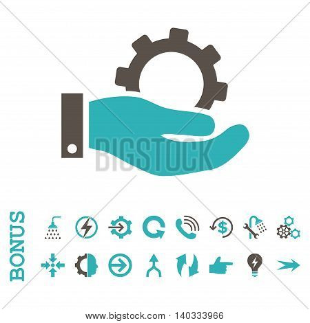 Service vector bicolor icon. Image style is a flat iconic symbol, grey and cyan colors, white background.