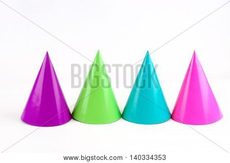 shiny party hats isolated on white background