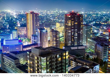 Sendai, Japan downtown cityscape at night.