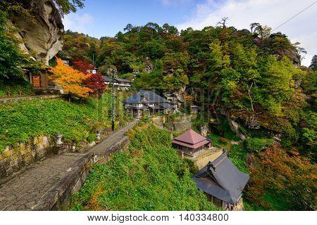 Yamadera Temple of Yamagata, Japan in autumn.