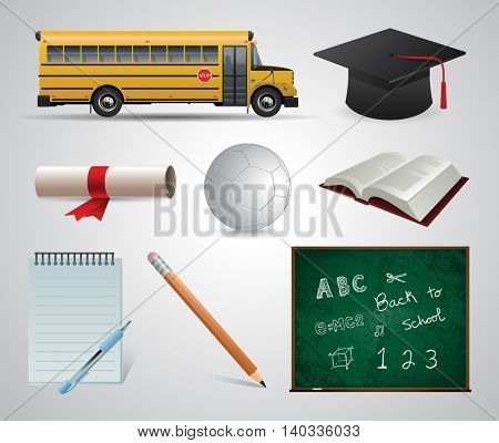 Education. School. University. Vector flat icon set and illustrations