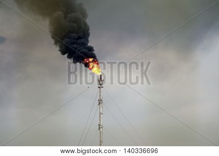 Burning of Petrochemical Industrial Complex. Oil refinery building industry