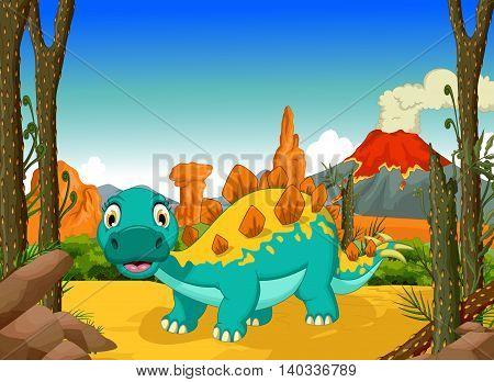 funny stegosaurus cartoon with forest landscape background