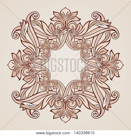 Abstract florid pattern in pastel rose pink shades