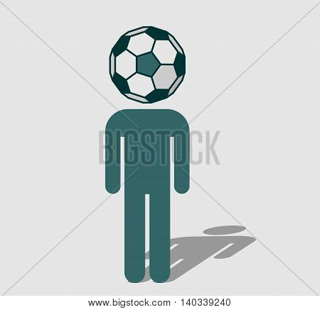 Human icon with ball instead head. Soccer fan metaphor