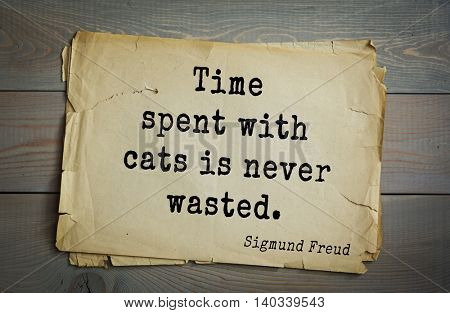 Austrian psychoanalyst and psychiatrist Sigmund Freud (1856-1939) quote. Time spent with cats is never wasted.