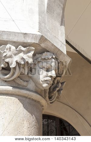 Head of column with gargoyle Cloth Hall ( Sukiennice) Main Market Square Krakow Poland