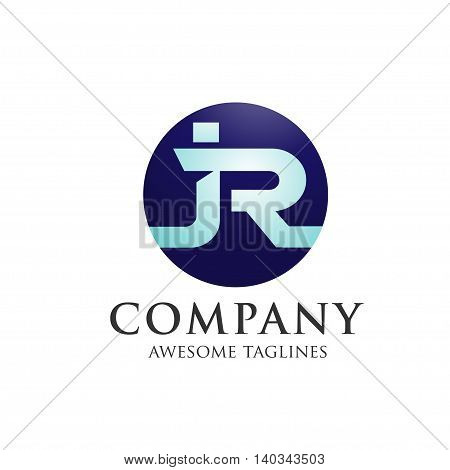 letter JR with circle background creative logo concept, innovative JR letter icon concept