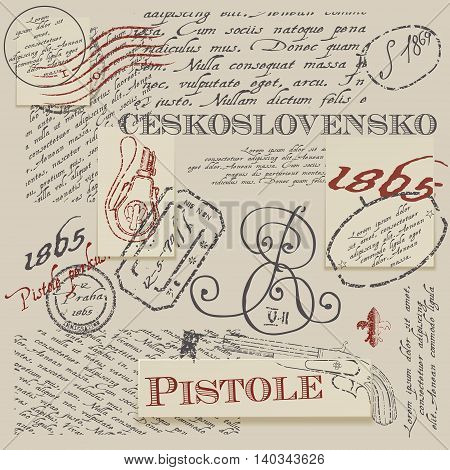 Seamless texture with real Ceskoslovensko pistole stamps. Seamless background