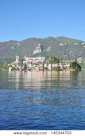 View form Orta San Giulio to Isola San Giulio at Lake Orta in Piedmont,italian Lake District,Italy