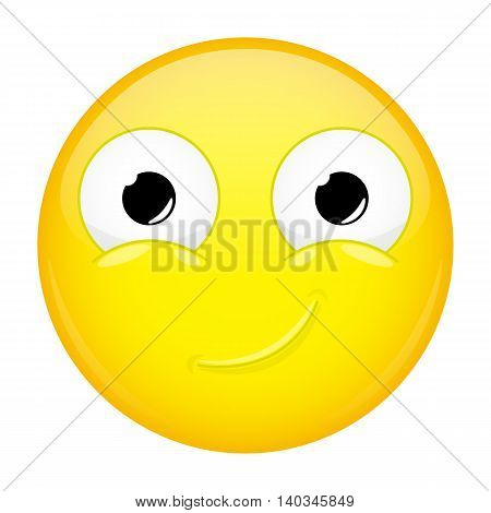 Smiling emoji. Smirk emotion. Happy emoticon. Vector illustration smile icon.