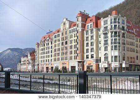 SOCHI, RUSSIA - JANUARY 31, 2015: Golden Tulip Rosa Khutor - new elegant hotel in Krasnaya Polyana, Sochi, ski resort of world class
