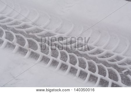 Car tire tread in snow - Close-up pattern
