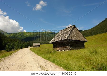 tatry Tatras mountains - wooden cottage