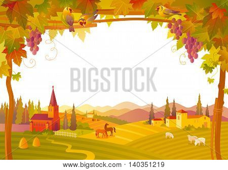 Vector illustration of beautiful autumn landscape on white background in modern style with elegant text lettering, copy space. Countryside fall farm symbols tree, church, pumpkin icon, vineyard