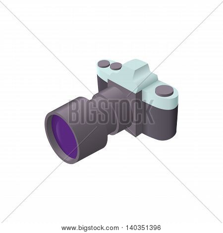 Photo camera with lens icon in cartoon style isolated on white background. Shooting symbol