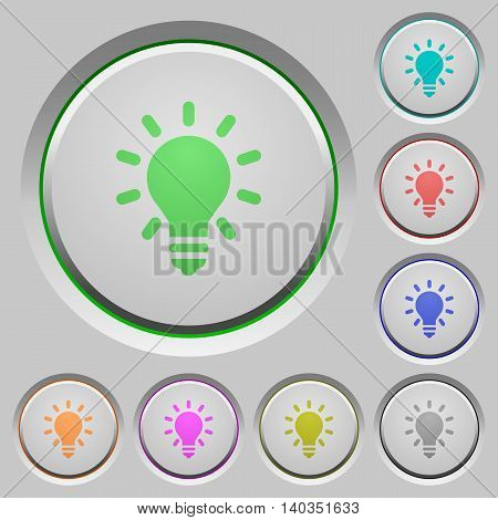Set of color Lighting bulb sunk push buttons.