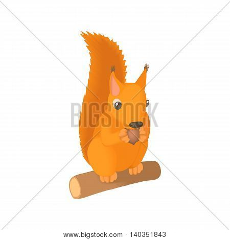 Squirrel gnaws a nut icon in cartoon style isolated on white background. Animal symbol
