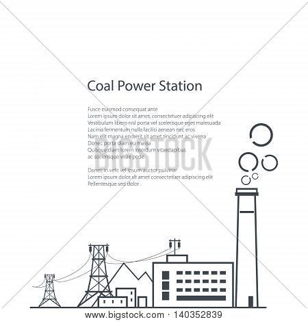 Coal Power Station Isolated on White Background, Complex Industrial Facilities with the Power Line ,Coal Industry ,Poster Brochure Flyer Design, Vector Illustration