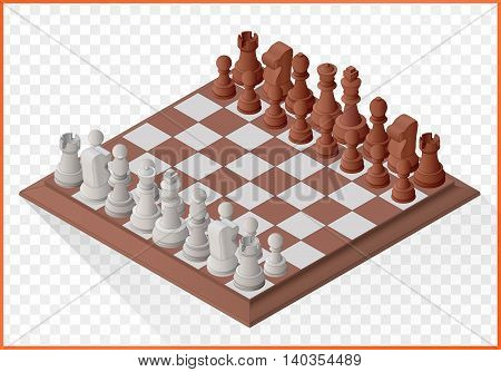 Isometric chess piece or chessmen with board flat vector 3d illustration isolated on white background