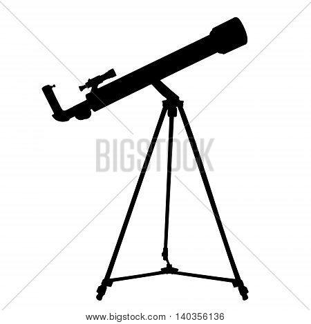 Silhouette of telescope isolated on white. Vector illustration.