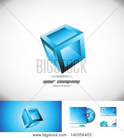 Vector company logo icon element template blue 3d cube box design games media entertainment