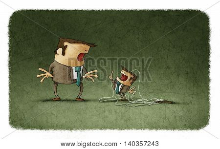 Illustration of stunned businessman looking at tiny puppet talking to him with finger up.