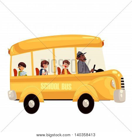 Cartoon illustration of happy primary students riding school bus. Traditional yellow schoolbus on the road, driver taking pupils to school trip countryside