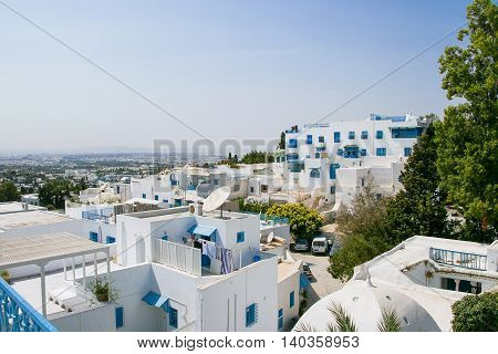 Traditional white and blue houses in Sidi Bou Said Tunisia.