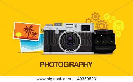 photography hobby with yellow background vector design illustration concept