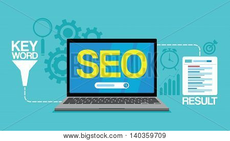 seo content marketing strategy concept search engine vector