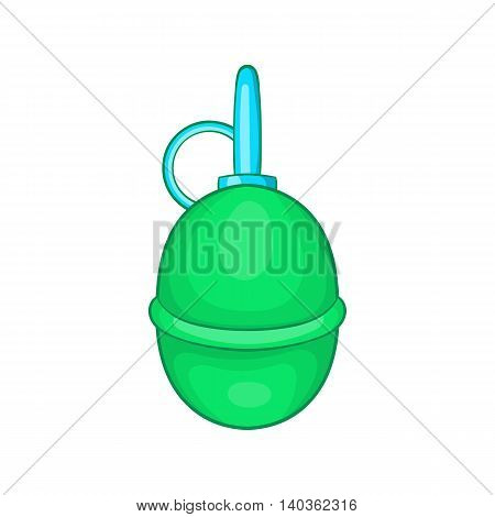 Hand paintball grenade icon in cartoon style on a white background