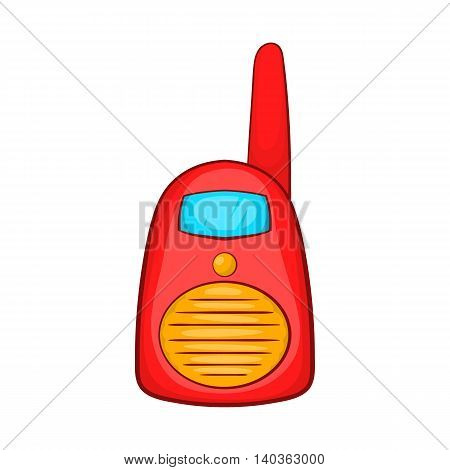Red portable handheld radio icon in cartoon style on a white background