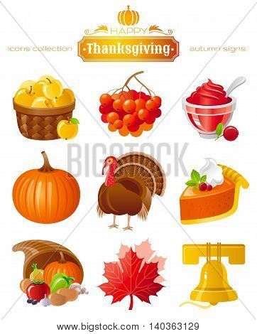 Vector icon set with autumn and thanksgiving food and symbols on black background. Includes apple basket, rowan berry, cranberry sauce, pumpkin, turkey, pie horn of plenty, maple leafs, church bell.