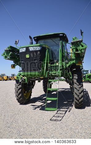 MOORHEAD, MINNESOTA, July 25, 2016: The new sprayer tractor is a product of John Deere Co, an American corporation that manufactures agricultural, construction, forestry machinery, diesel engines, and drivetrains.