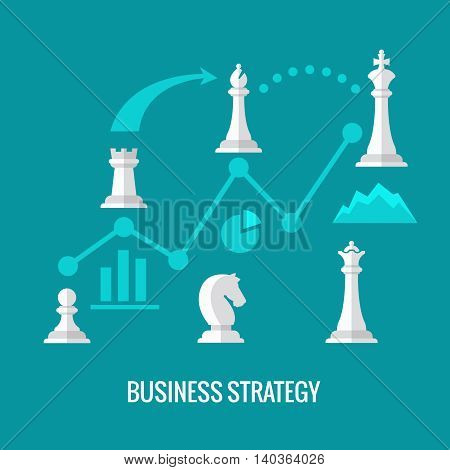 Business strategy with chess flat vector concept. Chess strategy for business, illustration infographic and plan strategy