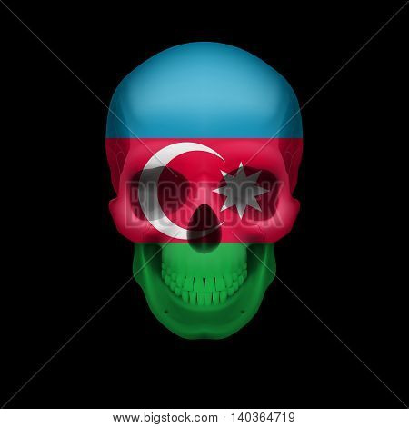 Human skull with flag of Azerbaijan. Threat to national security war or dying out