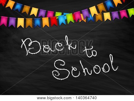 Back to school vector background with blackboard