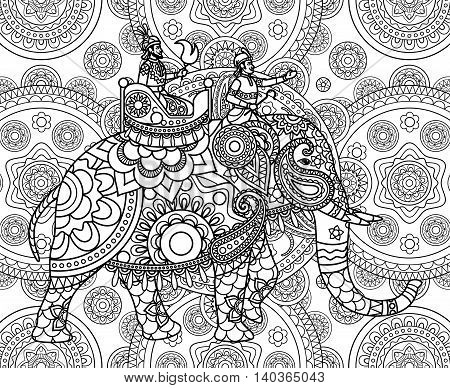 Doodle Indian maharajah over elephant ornate background. Vector illustration