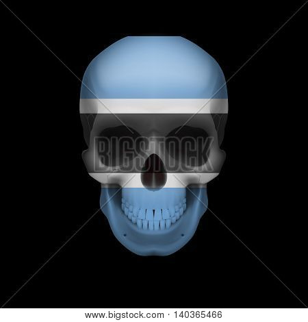 Human skull with flag of Botswana. Threat to national security war or dying out