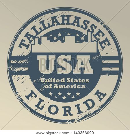 Stamp with name of Florida, Tallahassee, vector illustration