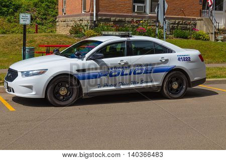 Bath NY - July 26 2016 A parked VA Hospital Police car on the grounds of the Veterans Administration Hospital.
