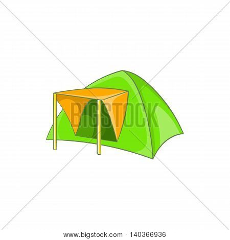 Green tent icon in cartoon style on a white background