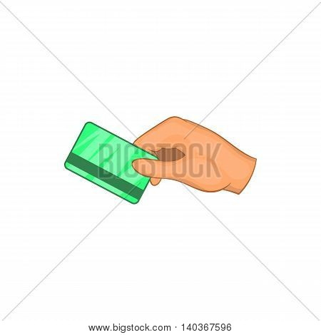 Hand with hotel room key card icon in cartoon style on a white background