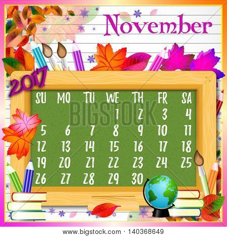 Calendar design grid with green chalkboard and school supplies on page of copybook in line. Back to school background with dates of autumn month November 2017. Vector illustration