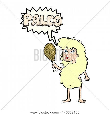 freehand drawn comic book speech bubble cartoon woman on paleo diet