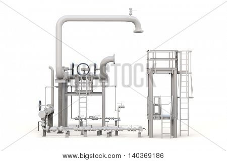3d render of oil refinery on white background