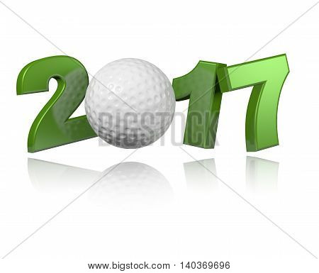 Golf 2017 3D illustration with a White Background