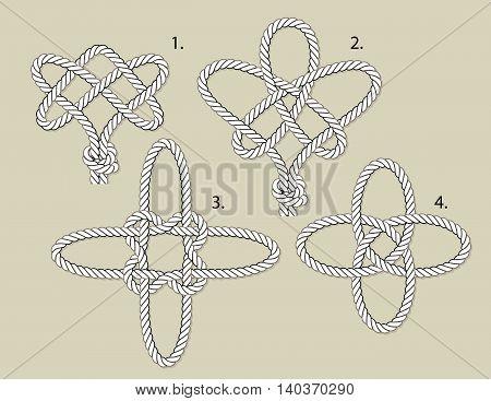 vector magical knots 1 eternal 2 tree of life 3 cross 4 turkish